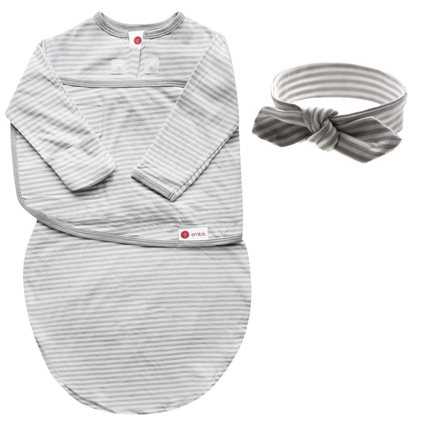 Kids & Babies - Headband And Swaddle With Long Sleeves Bundle (Gray Stripe)