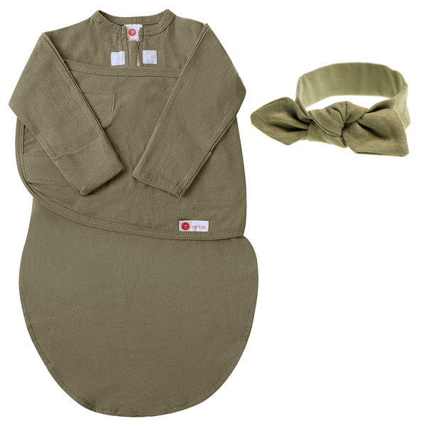 Kids & Babies - Headband And Swaddle With Long Sleeves Bundle (Moss)