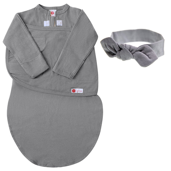 Kids & Babies - Headband And Swaddle With Long Sleeves Bundle (Slate)