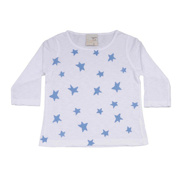 Kids & Babies - Long Sleeve Tee - Blue Stars Print