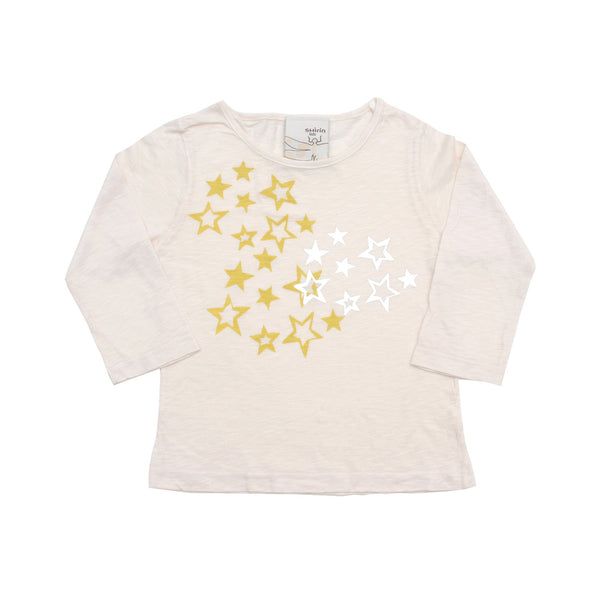 Kids & Babies - Long Sleeve Tee - Stars Print With Silver Foil