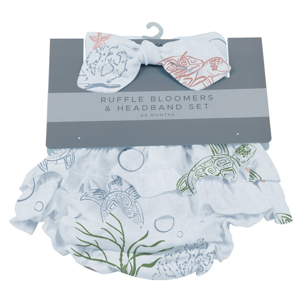 Kids & Babies - Turtles Ruffle Bloomers And Headband Set