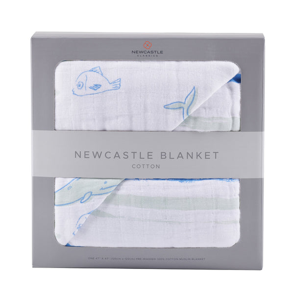 Kids & Babies - Whale And Ocean Stripe Blanket