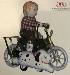 Tinplate Toy Boy On bike With Dog Tin Toy