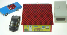 Load image into Gallery viewer, VW BEETLE MERCEDES CARAVAN AND GARAGE KOVAP SET CE EUROPEAN HAND MADE TIN TOYS