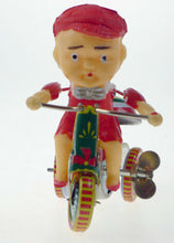 Load image into Gallery viewer, TIN TOY BOY ON RINGING TRICYCLE CLASSIC TIN TOY COLLECTORS WIND UP CLOCKWORK