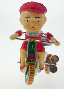 TIN TOY BOY ON RINGING TRICYCLE CLASSIC TIN TOY COLLECTORS WIND UP CLOCKWORK