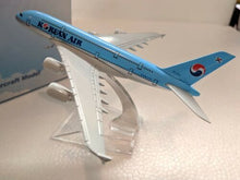 Load image into Gallery viewer, Korean Air Diecast A380 Metal Plane Aircraft Models On Stand 14Cm
