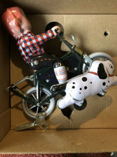 Load image into Gallery viewer, Tinplate Toy Boy On bike With Dog Tin Toy