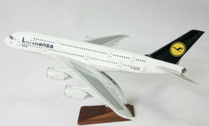 LUFTHANSA A380 JUMBO JET LARGE PLANE MODEL ON STAND APX 1.5' SOLID RESIN