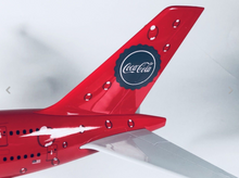 Load image into Gallery viewer, COCA COLA A380 AIRBUS LARGE PLANE MODEL ON STAND APX 1.5' SOLID RESIN AIRPLANE