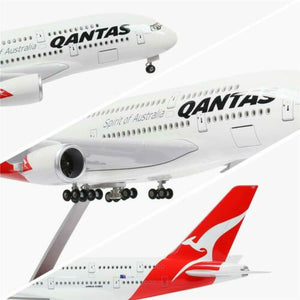 "LARGE QANTAS PLANE MODEL AIRBUS A380 LED CABIN LIGHTS WHEELS STAND 18"" RESIN"