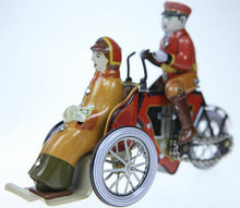 Load image into Gallery viewer, TINPLATE TOY RETRO TAXI TRIKE WITH WOMAN AND CAT