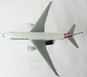 AMERICAN AIRLINES 777-200 JET LARGE PLANE MODEL ON STAND APX 1.5' SOLID RESIN