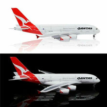 "Load image into Gallery viewer, LARGE QANTAS PLANE MODEL AIRBUS A380 LED CABIN LIGHTS WHEELS STAND 18"" RESIN"