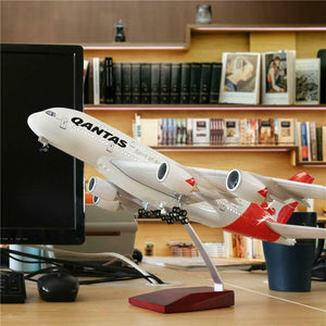 Qantas A380  Airbus Large Plane Model On Stand qantas-a380-airbus-large-plane-model-on-stand-apx-47cm-1-162-resin