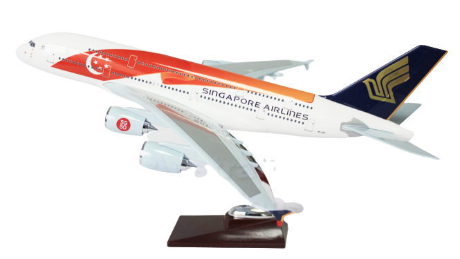Singapore 50th Anniversary Model A380 Large Model Plane 47cm singapore-air-50th-anniversary-livery-airbus-a380-large-plane-model-apx-47cm