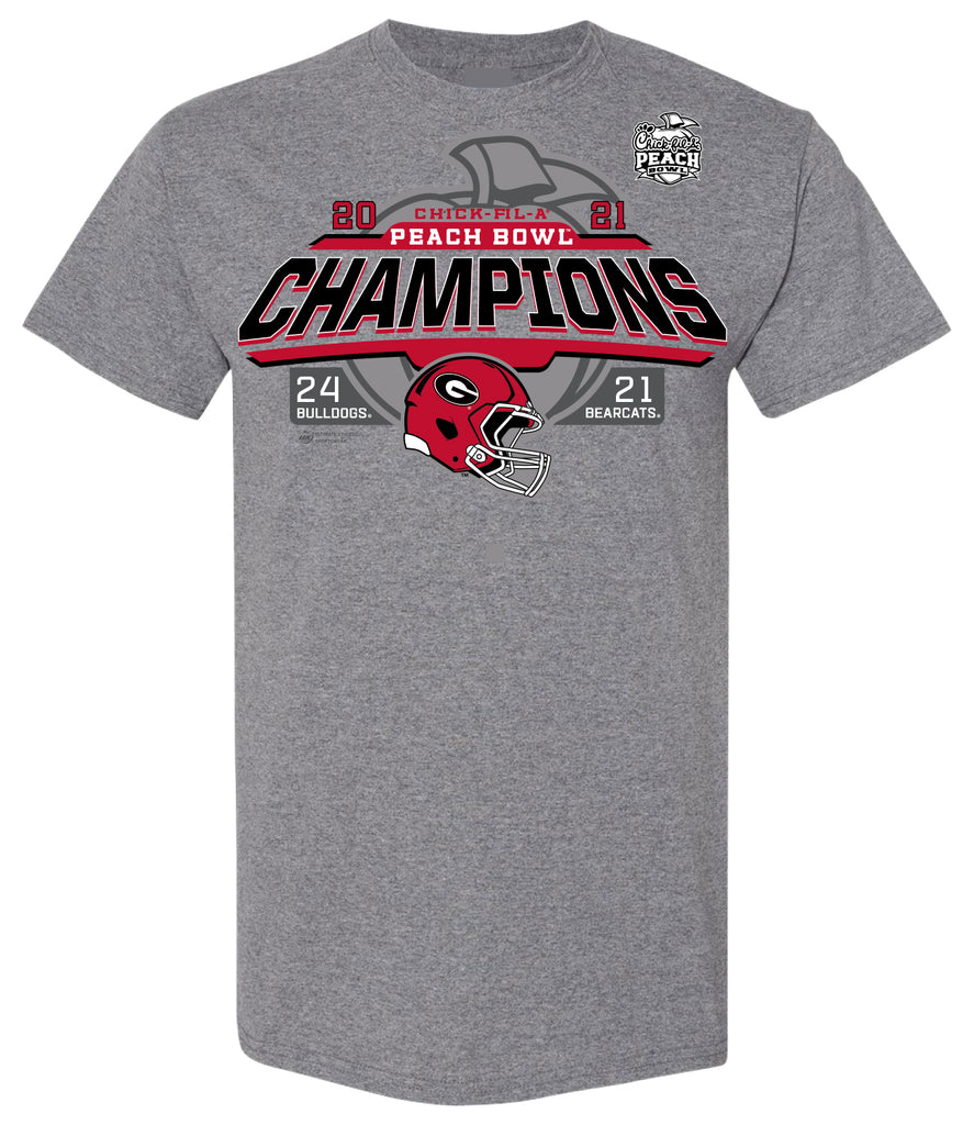 2021 Chick-fil-A Peach Bowl Georgia Champs Heather Grey Short Sleeve Tee