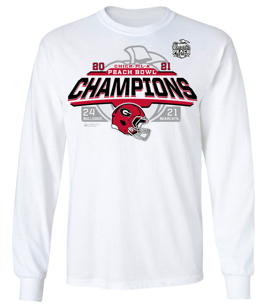 2021 Chick-fil-A Peach Bowl Georgia Champs White Long Sleeve Tee
