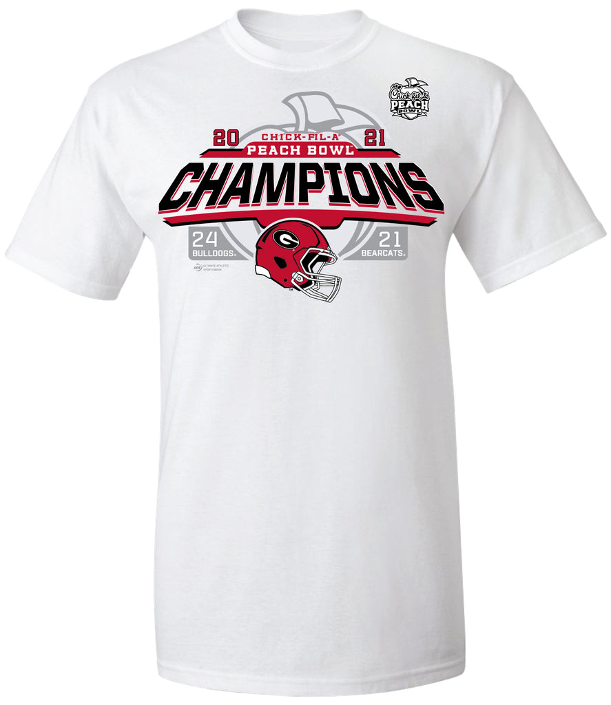 2021 Chick-fil-A Peach Bowl Georgia Champs White Short Sleeve Tee
