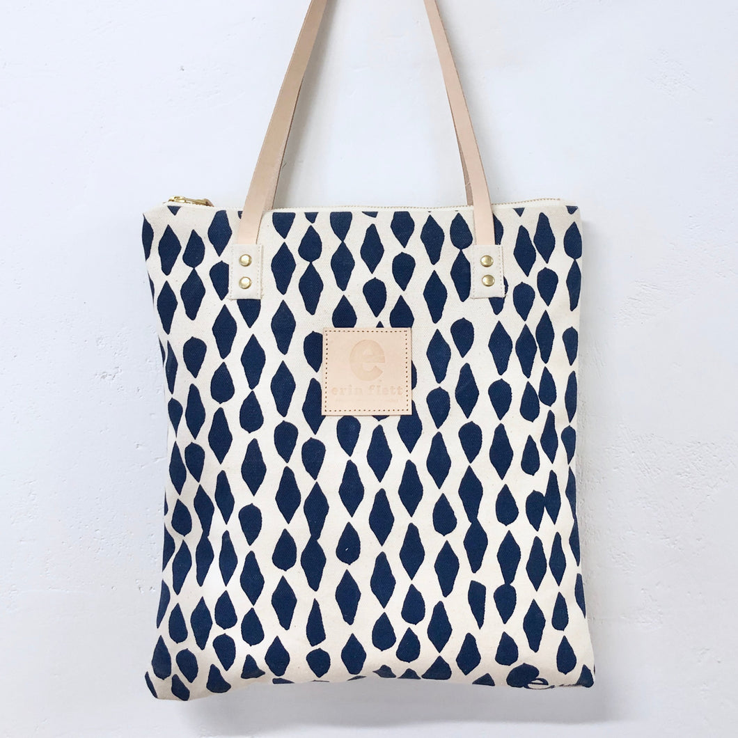 Navy Ink Leaves Mod Tote