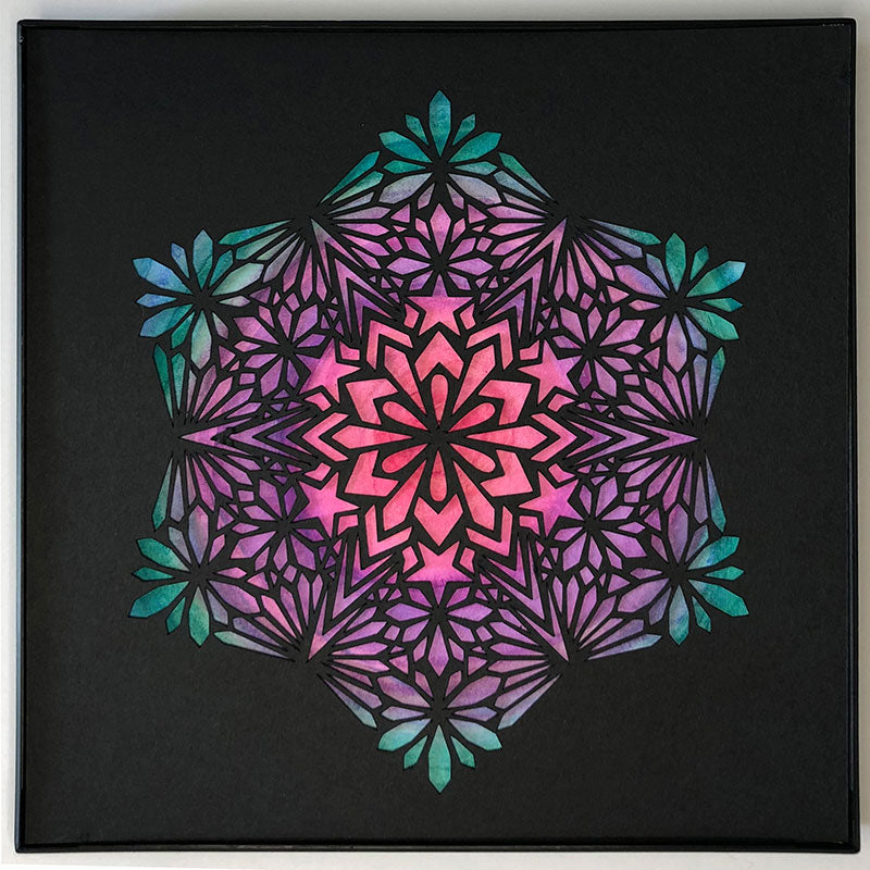 "#10 ""Radiant"" •Cut Paper • Watercolor • Wall Art • 8"" x 8"" • Framed • Feng Shui Art • Handmade in Seattle • Seattle Artist"
