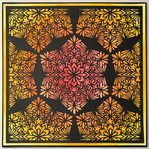 "#10 ""Radiant"" • Cut Paper • Watercolor • Wall Art • 12"" x 12"" • Framed • Feng Shui Art • Handmade in Seattle • Seattle Artist"