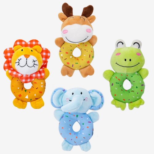 Stuffed animal rattles, 4pcs/set - Shivramas