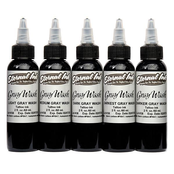 Eternal Ink -  Gray Wash 1 oz Set (5 Bottle) - TattooAwards.com