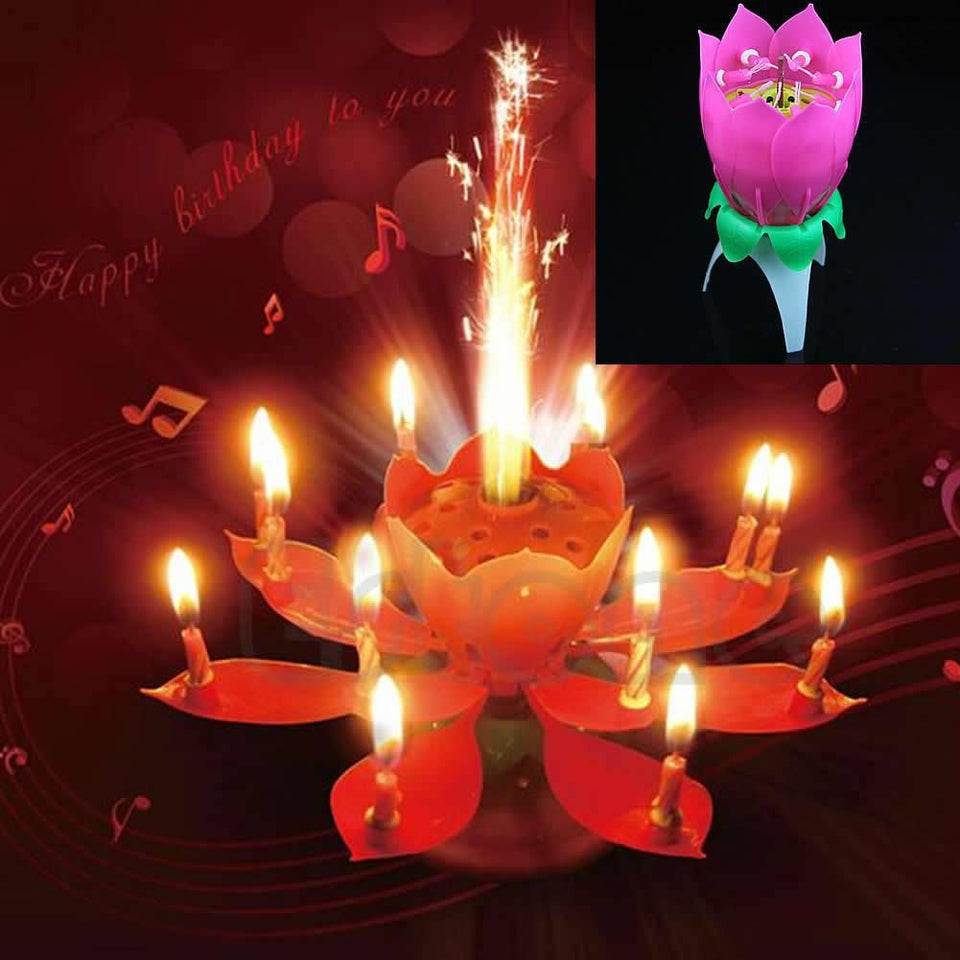 Blooming Lotus Flower Musical Candle Birthday