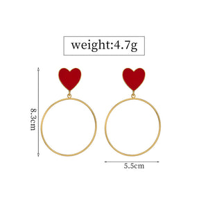 Fashion Red Heart Eye Rainbow Colorful Long Tassel Big Hoop Circle Drop Earrings Jewelry - Acecare Jewellery Store
