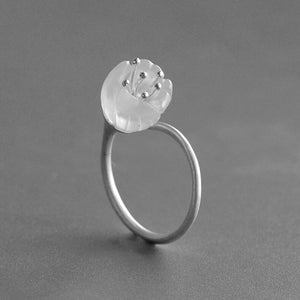 Original natural silver white crystal flowers ring - Acecare Jewellery Store
