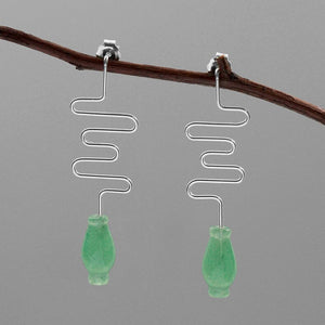 Simple smoke, classical Dongling Jade vase silver earrings