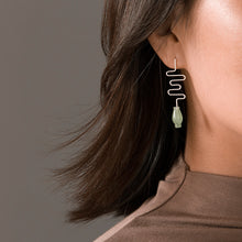 Load image into Gallery viewer, Simple smoke, classical Dongling Jade vase silver earrings