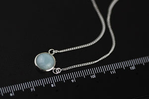 Silver Necklace Jewelry Original Dust of Time Blue Jade Chalcedony Moonstone Sea Blue Treasure Vineyard - Acecare Jewellery Store