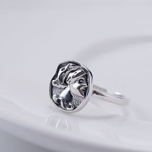 Silver retro embossed queen opening ring (Wholesale) - Acecare Jewellery Store