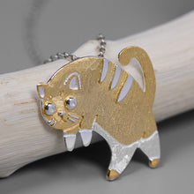 Load image into Gallery viewer, Pure silver gold-plated cat pendant without chain