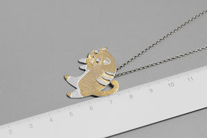 Pure silver gold-plated cat pendant without chain