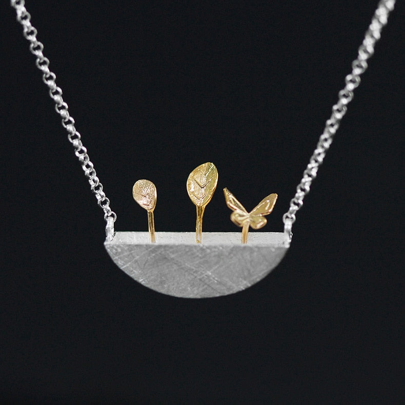 Original Silver Cute Potted Natural Wind Necklace - Acecare Jewellery Store