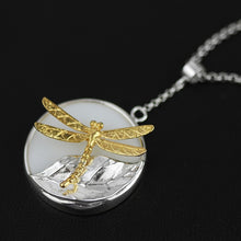 Load image into Gallery viewer, Women jewelry necklace Original Lightweight Silver Dragonfly Leaf-inlaid White Porcelain Pendant - Acecare Jewellery Store