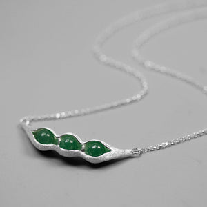 Pea pod pure silver inlaid Dongling jade necklace | jewelry - Acecare Jewellery Store
