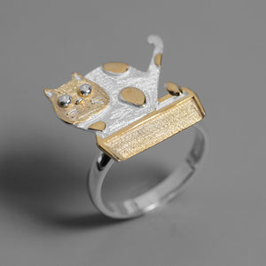 Laba's Cat Silver Open Ring - Acecare Jewellery Store