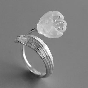 Suzulan Natural White Crystal Flower Opening Ring - Acecare Jewellery Store