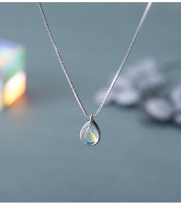 Water drop glass pendant necklace