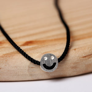 Diy Black Rope Necklace Korean Temperament | Simple Female Expression Smiley Necklace Clavicle - Acecare Jewellery Store