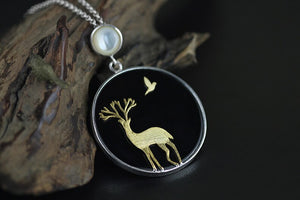 Women Fashion Silver necklace deer pendant jewelry - Acecare Jewellery Store