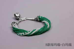 Silver jewelry handmade beaded agate bracelet female hand ornament (wholesale) - Acecare Jewellery Store