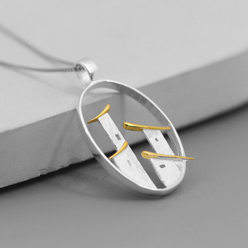 Impression of Jiangnan Folk House Simple and Freehand Style Silver Pendant without Chain - Acecare Jewellery Store