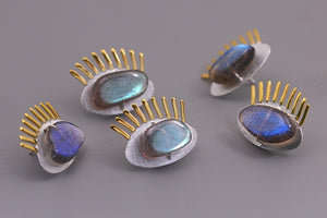 Original Sleepwalker's Funny Silver-inlaid Feldspar Brooch Female Pure Silver Eye Collars - Acecare Jewellery Store