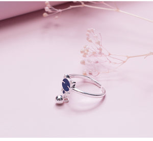 Silver cute cat star open mouth adjustable ringfor women - Acecare Jewellery Store